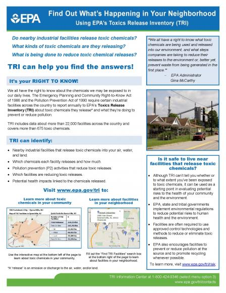 TRI Factsheet - Find Out What's Happening in Your Neighborhood Using EPA's Toxics Release Inventory (TRI)