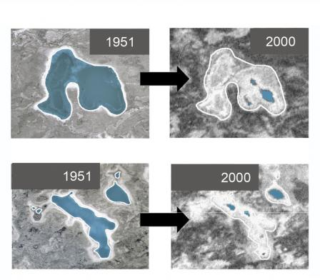 Two pairs of aerial photographs of pond areas in Alaska. The two images on the left show the pond areas in 1951 and the two corresponding images on the right show the same pond areas in 2000. The 2000 images have significantly smaller water levels.