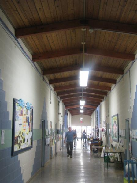 retrofitted T-8's in elementary wing hallway