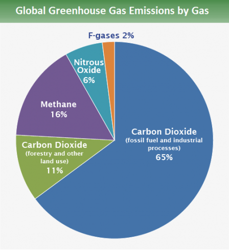 Global GHG emissions by gas: 65% is from carbon dioxide fossil fuel use and industrial processes. 11% is from carbon dioxide deforestation, decay of biomass, etc. 16% is from methane. 6% is from nitrous oxide and 2% is from fluorinated gases.