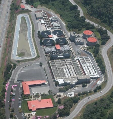 Aerial photo of the Central Marin Sanitation Plant in San Rafael, CA.