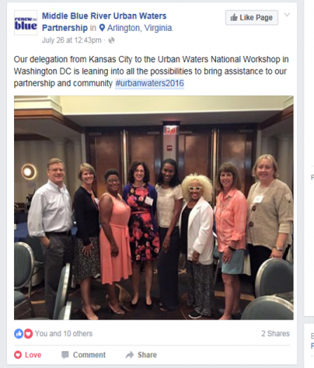 Facebook post showing the delegation from Kansas City