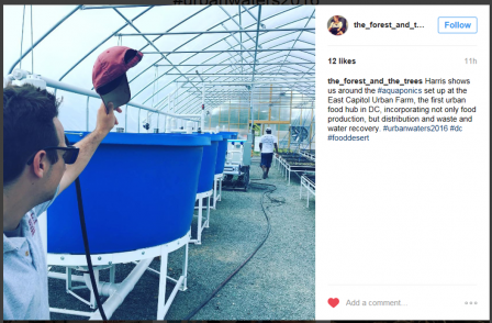 Instagram post featuring the East Capitol Urban Farm tour