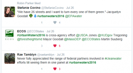 Three tweets about urban waters workshop