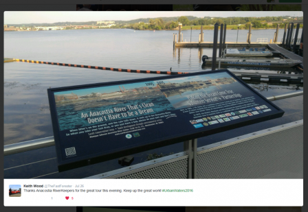Tweet thanking the Anacostia Riverkeeper for a great tour