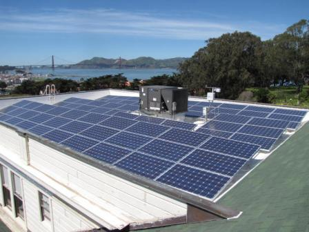 Solar panels on the roof of building at Fort Mason