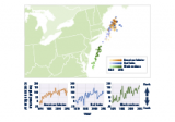 Map and line graphs showing the average locations of three fish and shellfish species in the Northeast from 1968 to 2015.