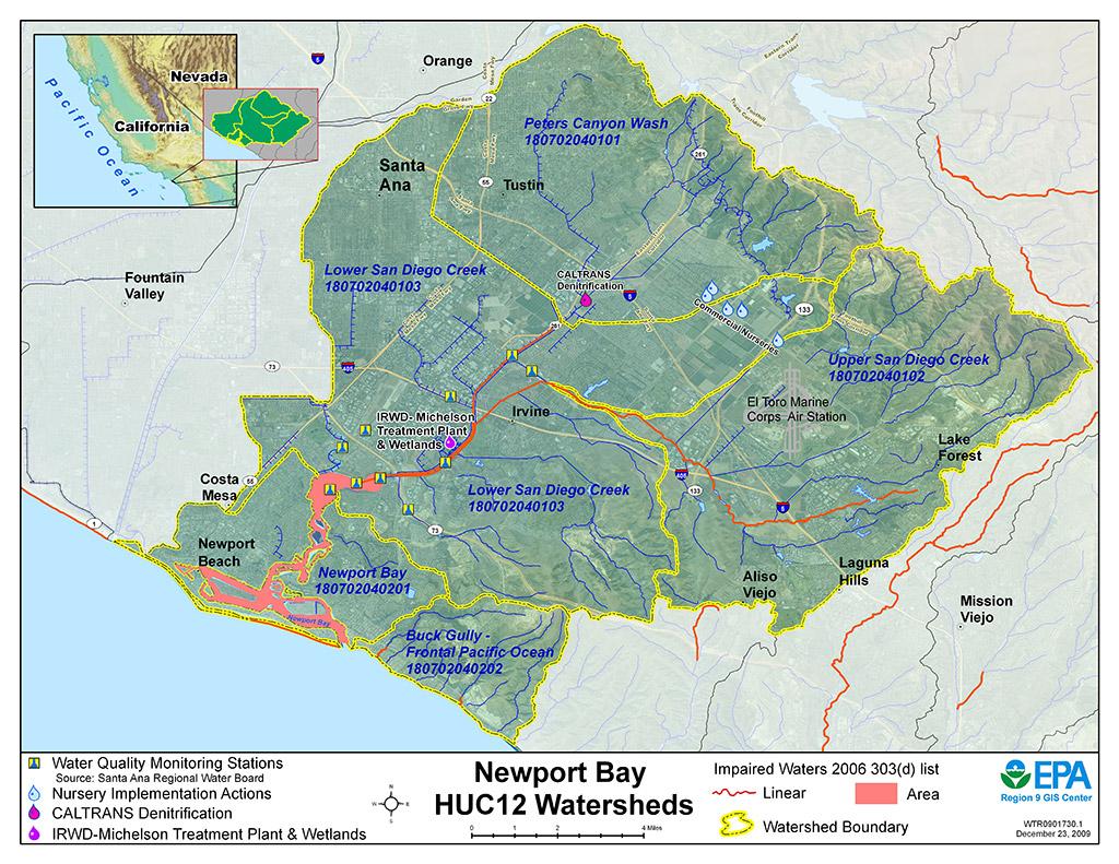 Map Of California East Bay.Newport Bay Watershed Region 9 Water Us Epa