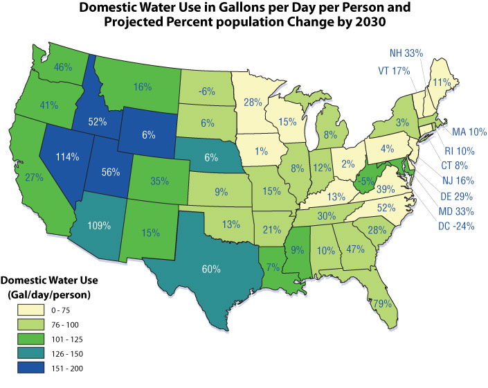 Tomorrow Beyond WaterSense US EPA - Population map of us by state